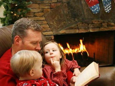 Father and Children By The Fire