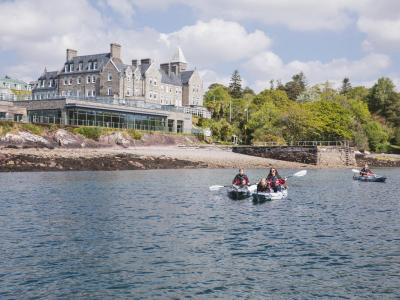 Kayak with hotel in background