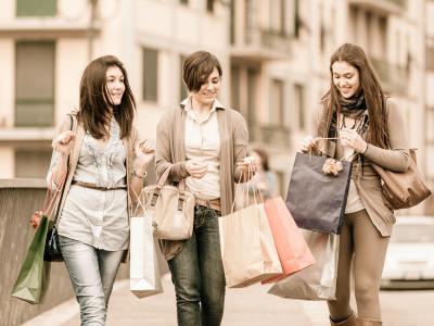 Three Girls Shopping