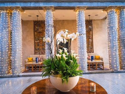 Lobby with floral arrangement