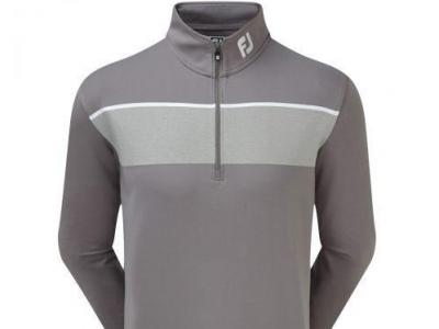 FJ Mens Grey Strip 1/2 Zip Top