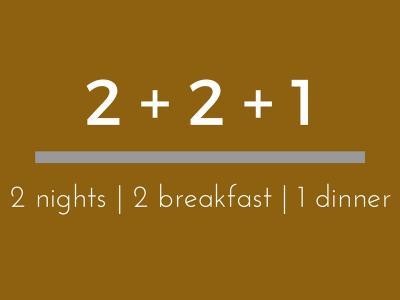2 Nights BB + 1 Dinner