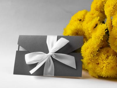 Grey Voucher with yellow flowers