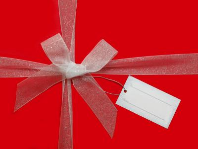 Red Voucher with bow and tag