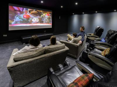 Family in cinema room