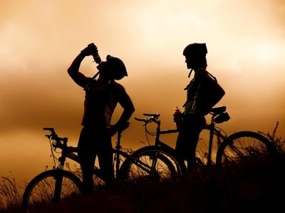 Couple Cycling Silhoutte