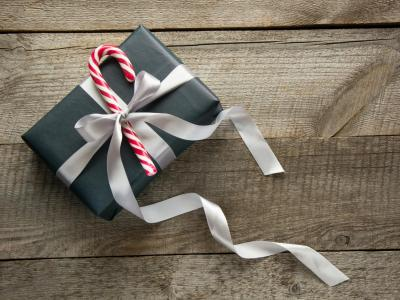 Grey Candy Cane Gift Box