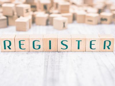 Register in scrabble letters